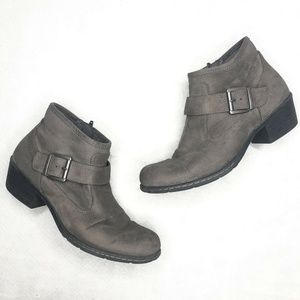 B.O.C. Born Concepts Gray Faux Suede Ankle Booties